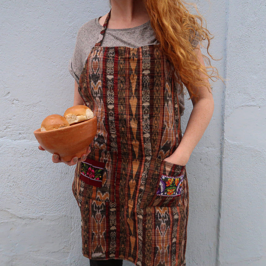 Upcycled Traditional Apron in 'Fire'