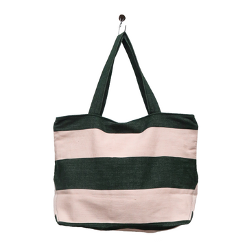 Striped Pink and Black Shopping Bag