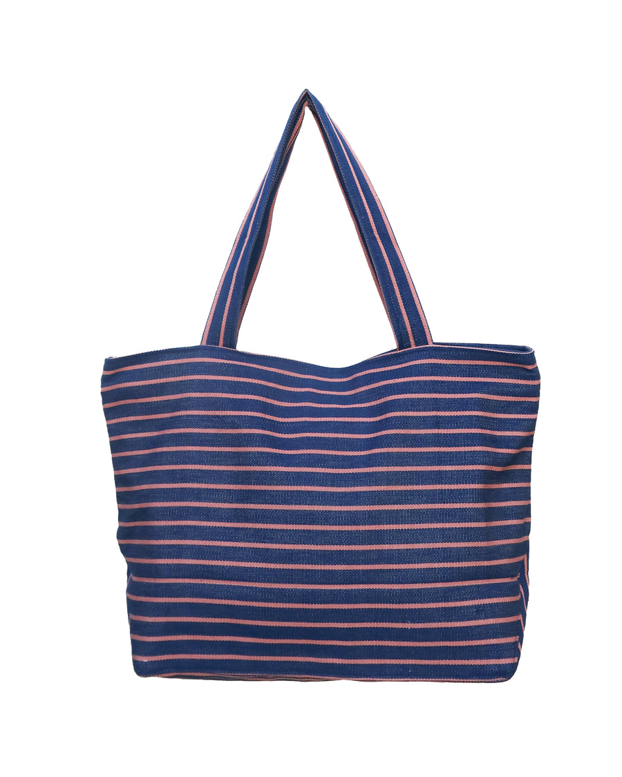 Striped Blue and Pink Shopping Bag