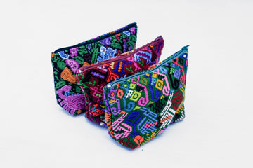 Small Animal Huipil Cosmetic Bag
