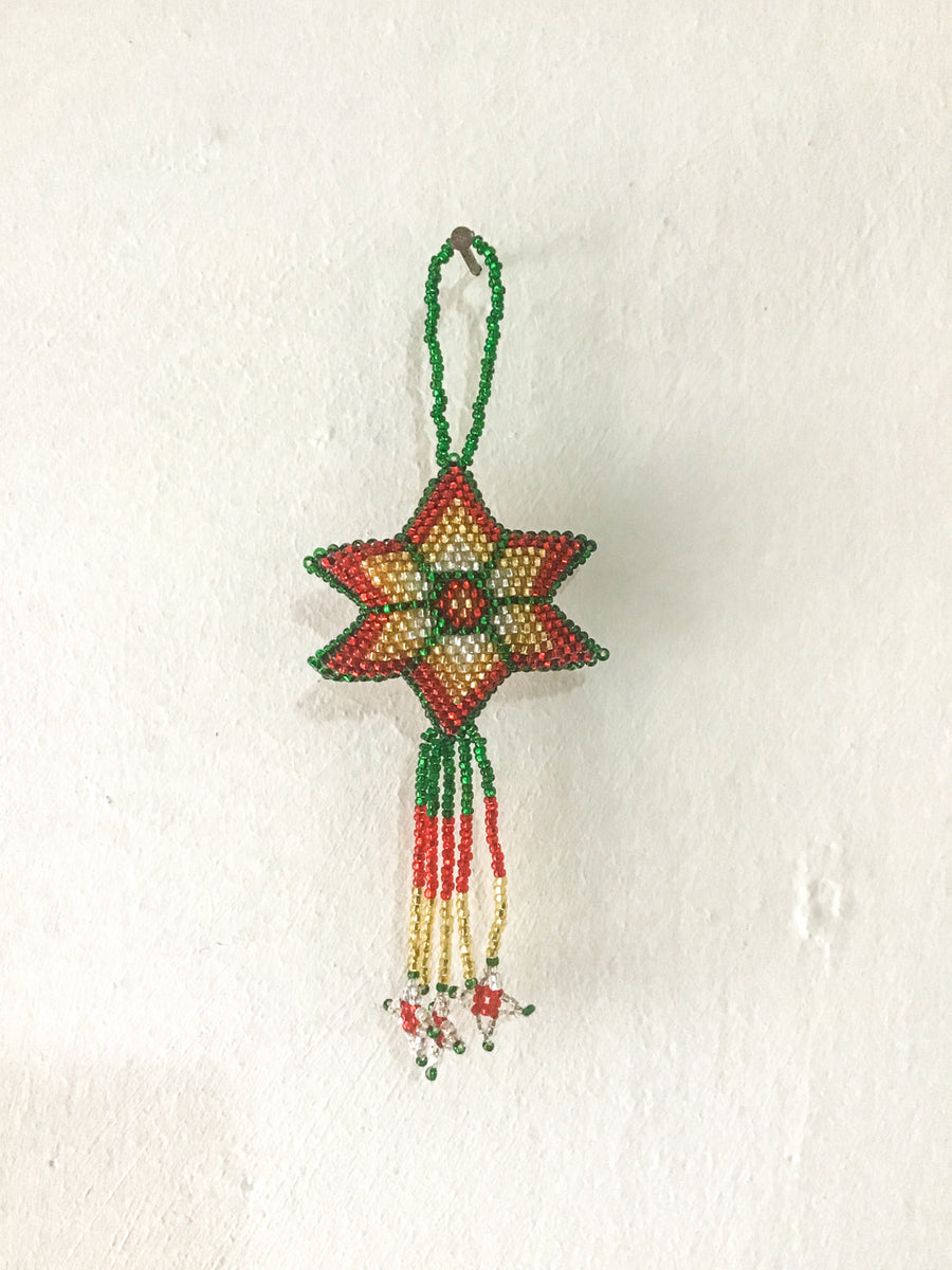 Hand-Beaded Christmas Tree Decorations - Set of 6