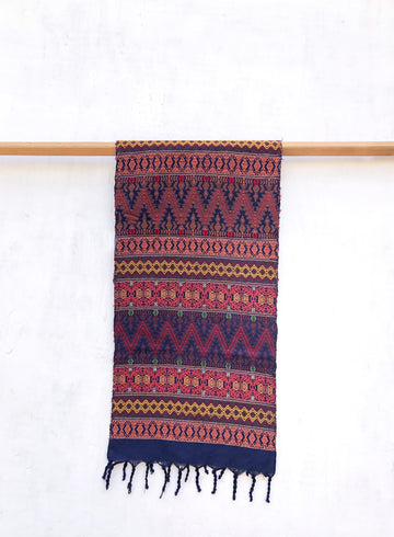 Sacatepéquez Scarf - Indigo Biking Red