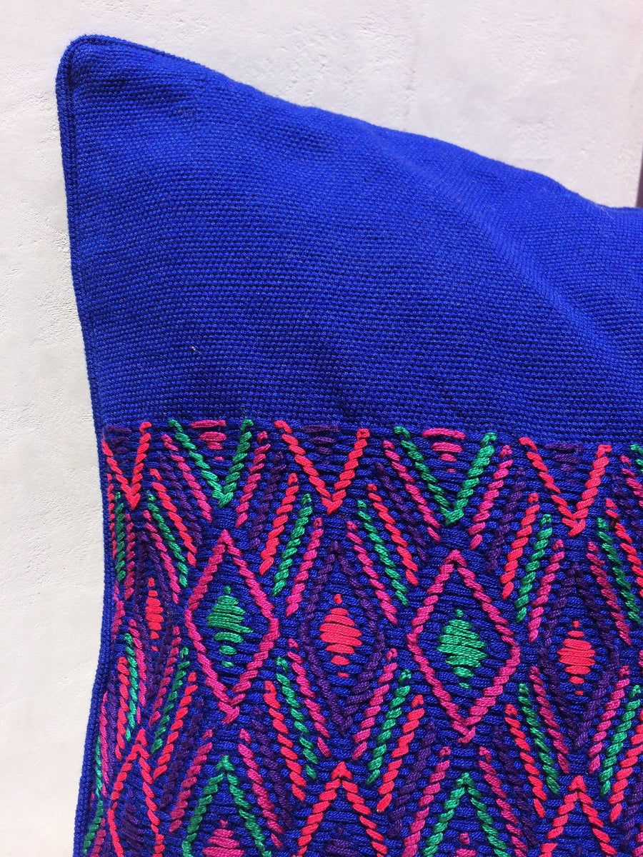 Handwoven Mayan Diamond Print Cushion Cover 100% Cotton 16x16