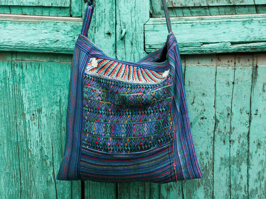 Large colorful Upcycled Guatemalan Huipil Crossbody Handwoven Purse