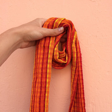 Small Handmade Striped Guatemalan Fabric Scarves in Different Colors