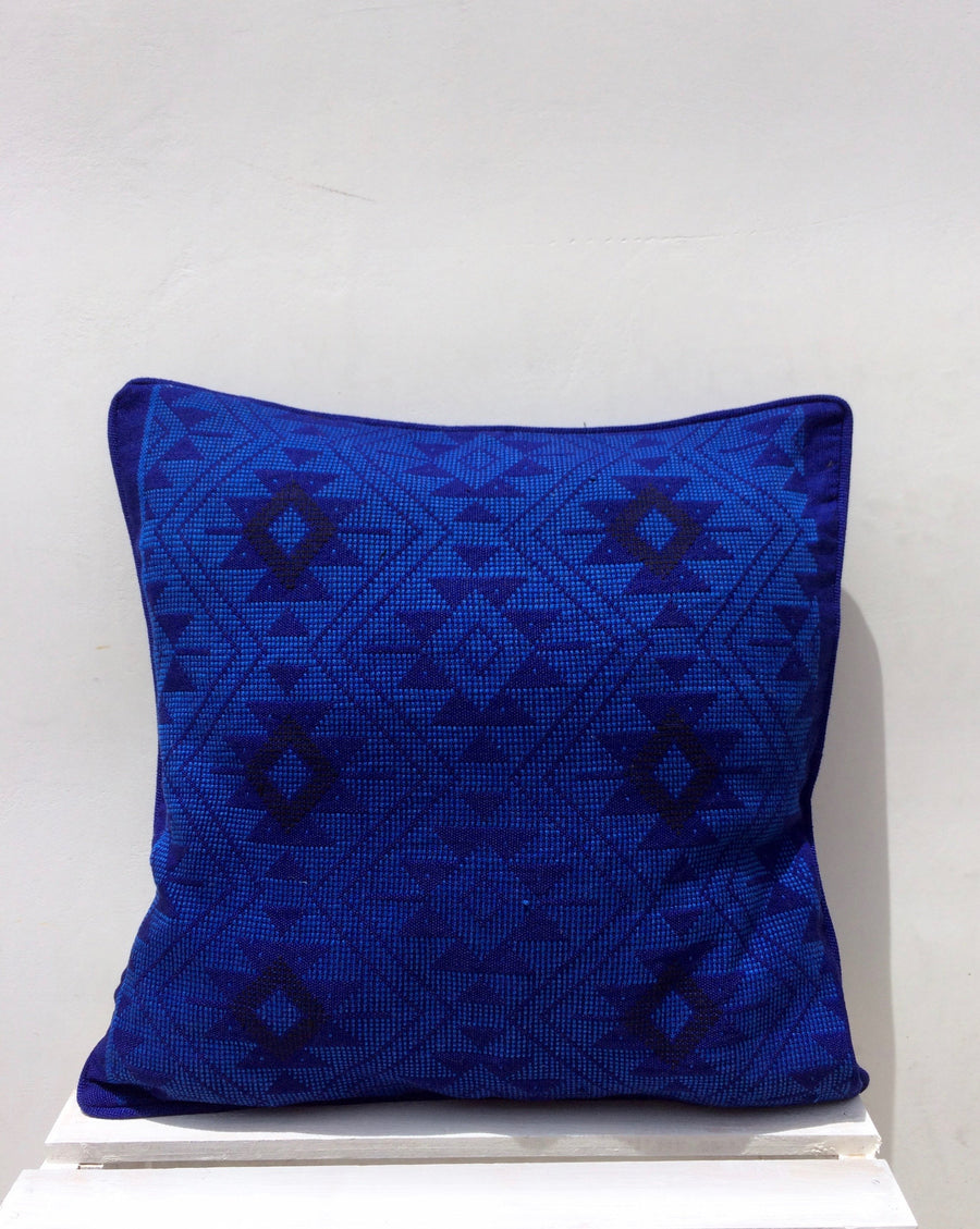 Handwoven Quiche Blue Cushion Cover