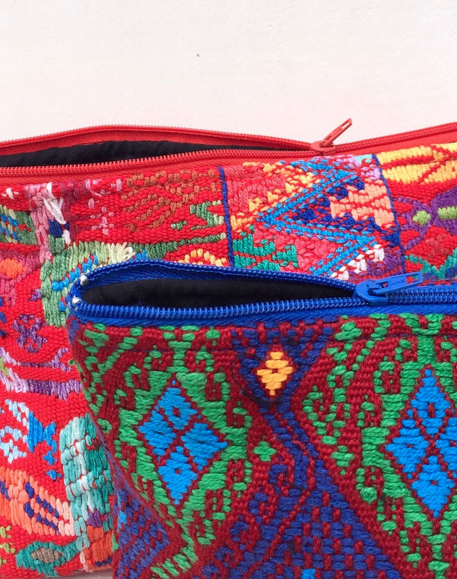Small Upcycled Guatemalan Huipil Bag Colorful Mayan Pattern - Red or White