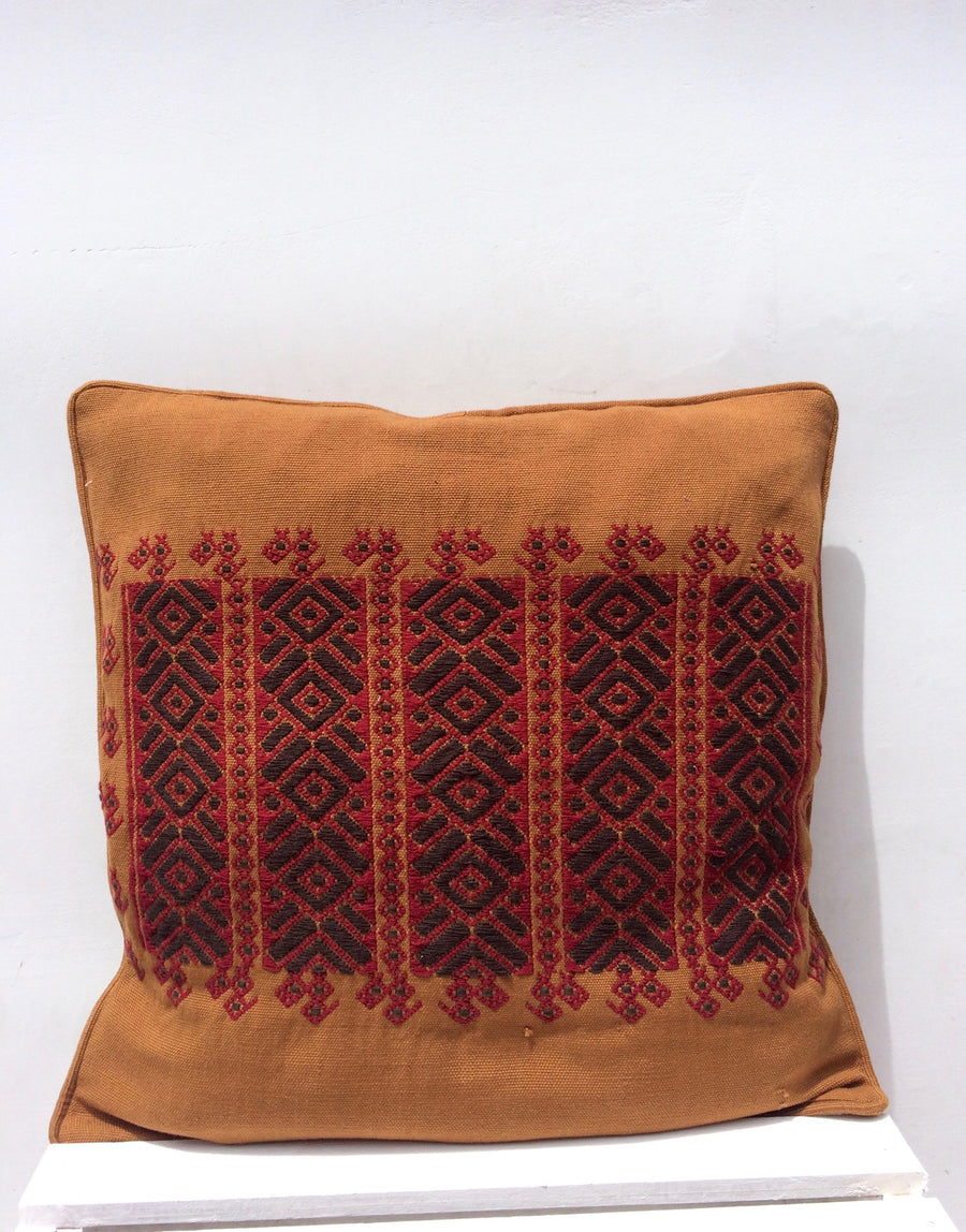 Handwoven Red and Gold Diamond Cushion Cover