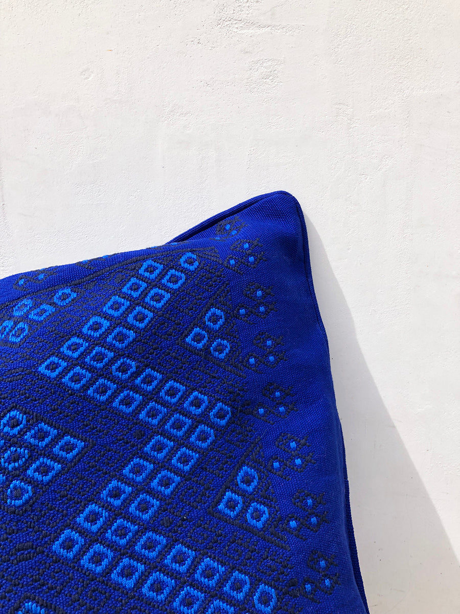 Bright Blue Diamond Cushion Cover
