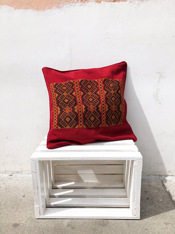 Dark Red and Gold Cushion Cover