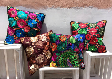 Handwoven Floral Cushion Cover