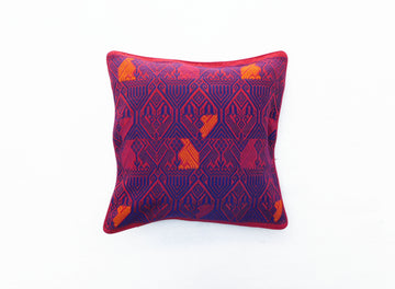 Quetzal Cushion Cover in Red and Blue