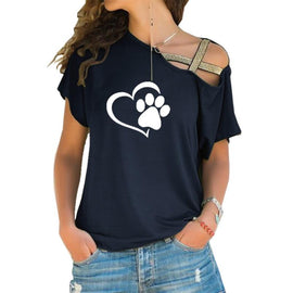Women Fashion Paw and Heart T-shirt
