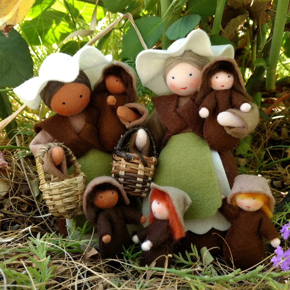 Earth Mothers with Seed Babies - Eco Flower Fairies, handmade wool felt Waldorf dolls