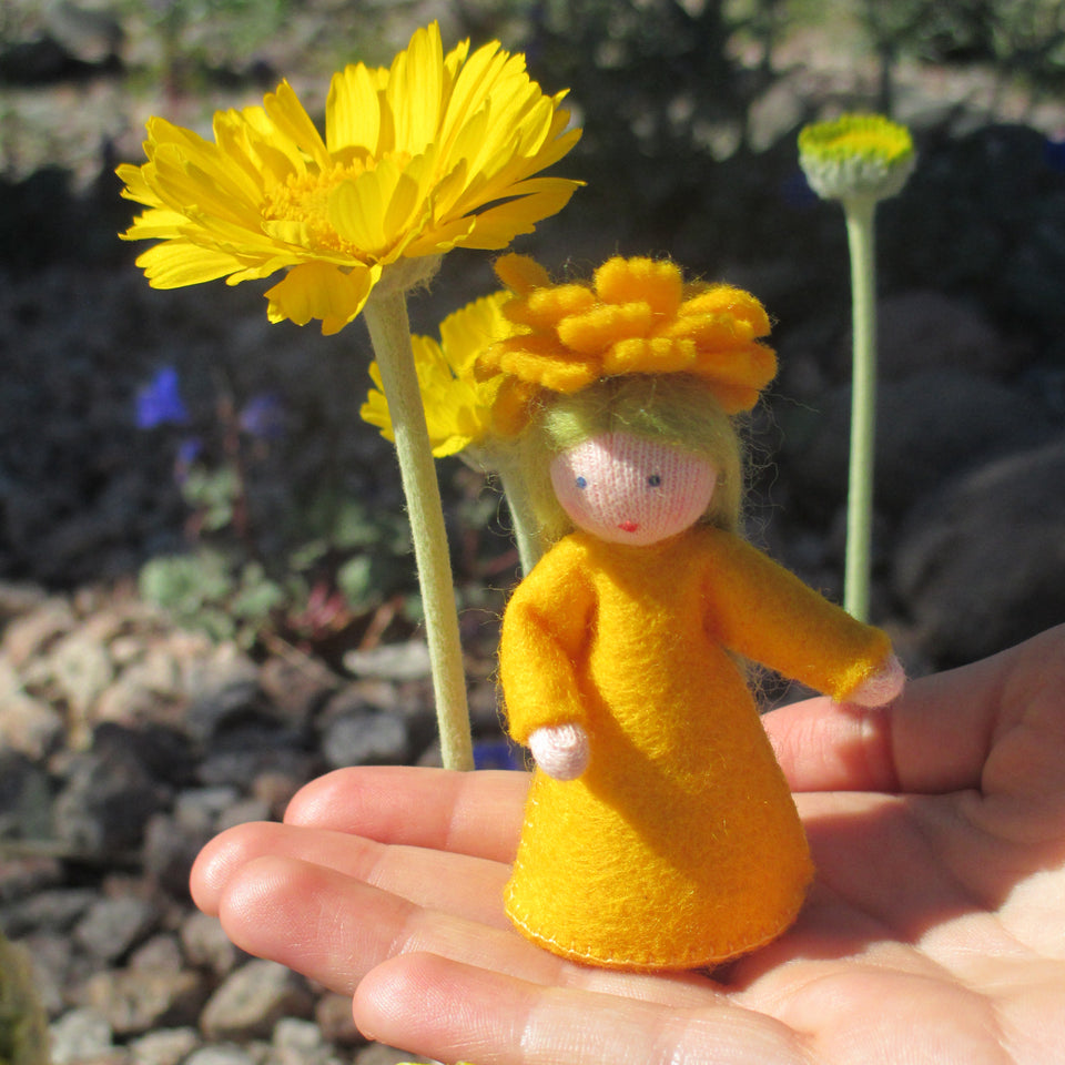 Desert Marigold Fairy - Eco Flower Fairies, handmade wool felt Waldorf dolls