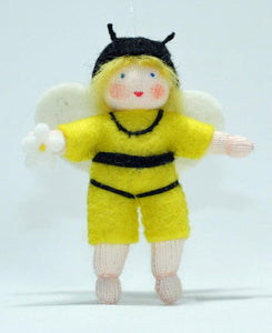 Bee Baby (miniature bendable hanging felt doll, with onesie) - Eco Flower Fairies LLC - Waldorf Doll Shop - Handmade by Ambrosius