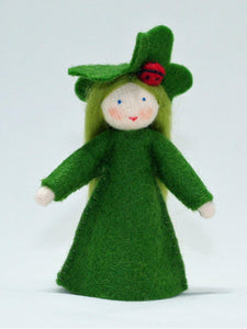Clover Fairy - Eco Flower Fairies, handmade wool felt Waldorf dolls