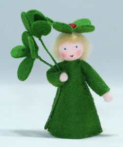 Clover Fairy (holding clover, fair skin) | Waldorf Doll Shop | Eco Flower Fairies