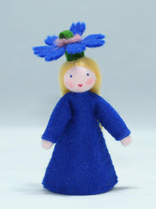 Cornflower Fairy (flower hat, fair skin) | Waldorf Doll Shop | Eco Flower Fairies