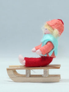 Girl on Sleigh | Waldorf Doll Shop | Eco Flower Fairies