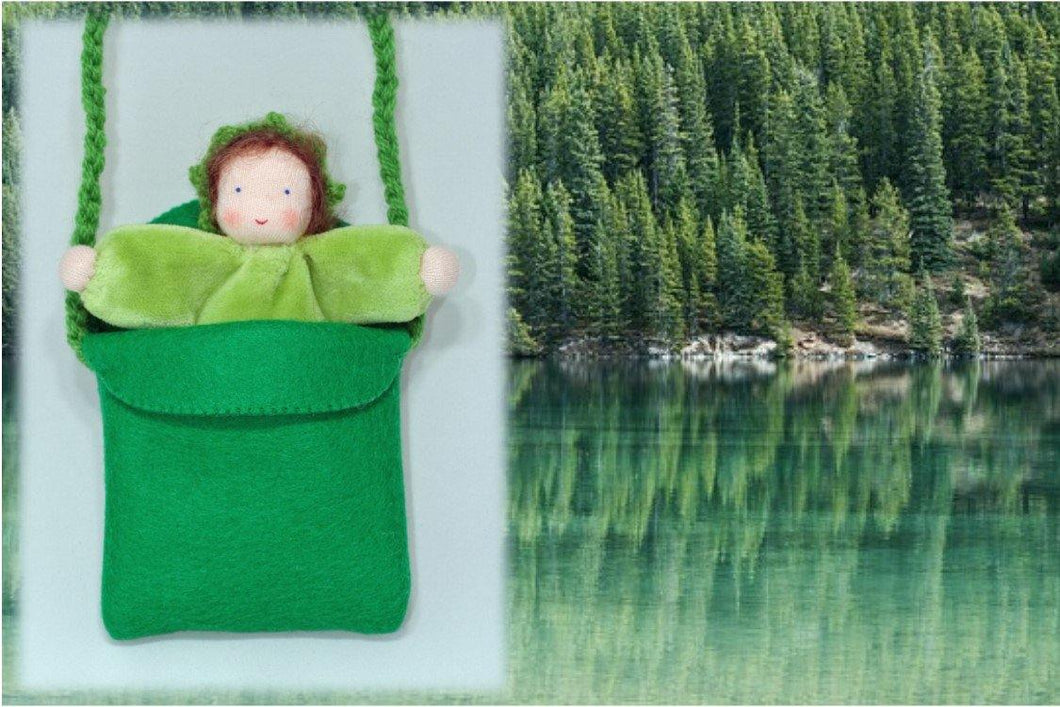 Baby in Pocket Purse - Eco Flower Fairies, handmade wool felt Waldorf dolls