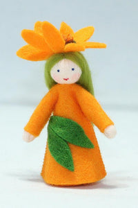 African Daisy Fairy (miniature standing felt doll, flower hat) - Eco Flower Fairies LLC - Waldorf Doll Shop - Handmade by Ambrosius