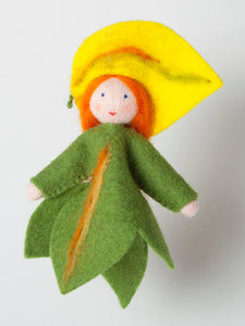 Poplar Leaf Fairy - Eco Flower Fairies, handmade wool felt Waldorf dolls