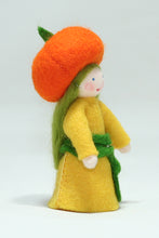 Pumpkin Fairy - Eco Flower Fairies, handmade wool felt Waldorf dolls