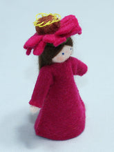 Zinnia Fairy - Eco Flower Fairies, handmade wool felt Waldorf dolls