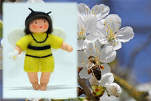 Bee Baby (bendable hanging felt doll, with onesie) - Eco Flower Fairies - Waldorf Doll Shop - Handmade by Ambrosius