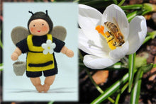 Bee Baby (bendable hanging felt doll, with apron) - Eco Flower Fairies - Waldorf Doll Shop - Handmade by Ambrosius