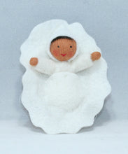 Baby in Walnut Manger (miniature non-detachable felt doll set) - Eco Flower Fairies LLC - Waldorf Doll Shop - Handmade by Ambrosius