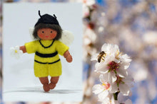 Bee Baby (bendable hanging felt doll, with onesie) - Eco Flower Fairies - Handmade by Ambrosius