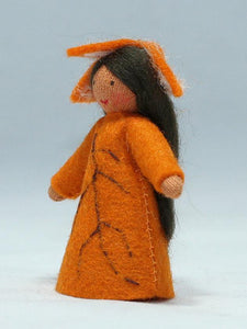 Beech Fairy (standing felt doll, leaf hat) - Eco Flower Fairies - Waldorf Doll Shop - Handmade by Ambrosius