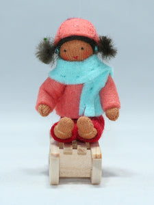 Girl on Sleigh (hanging felt doll set)