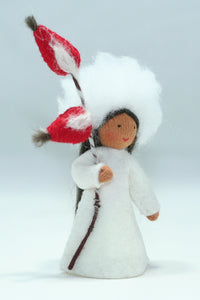 Rose Hips Fairy - Eco Flower Fairies, handmade wool felt Waldorf dolls