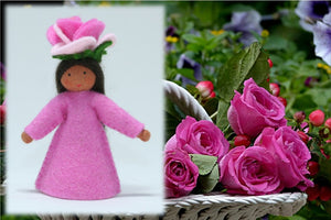 Rose Fairy - Eco Flower Fairies, handmade wool felt Waldorf dolls