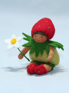 Baby Strawberry - Eco Flower Fairies, handmade wool felt Waldorf dolls