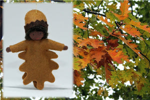 Oak Leaf Kid - Eco Flower Fairies, handmade wool felt Waldorf dolls