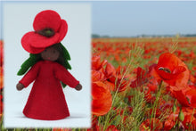 Red Poppy Fairy - Eco Flower Fairies, handmade wool felt Waldorf dolls