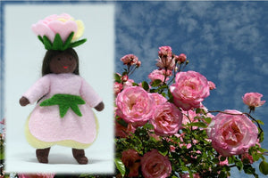 Rose Princess - Eco Flower Fairies, handmade wool felt Waldorf dolls