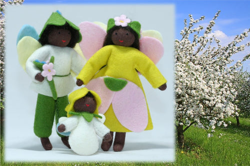 Spring Fairy Family - Eco Flower Fairies, handmade wool felt Waldorf dolls
