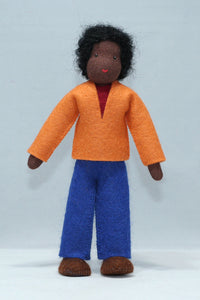 Father Doll (miniature bendable felt doll, dark skin)