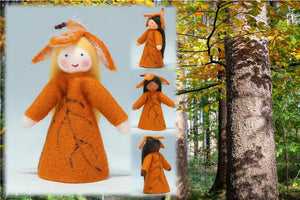 Beech Fairy (miniature standing felt doll, leaf hat) - Eco Flower Fairies LLC - Waldorf Doll Shop - Handmade by Ambrosius