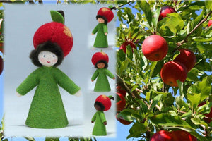 Apple Prince (standing felt doll, fruit hat) - Eco Flower Fairies - Waldorf Doll Shop - Handmade by Ambrosius
