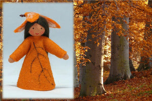 Beech Fairy (standing felt doll, leaf hat) - Eco Flower Fairies - Handmade by Ambrosius