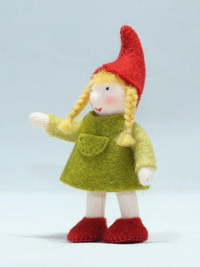 Forest Gnome Girl (bendable felt doll) - Eco Flower Fairies | Handmade by Ambrosius
