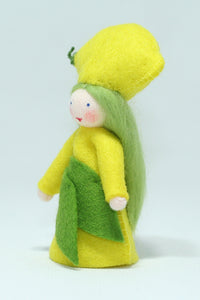 Lemon Fairy - Eco Flower Fairies, handmade wool felt Waldorf dolls