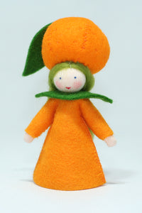 Orange Fairy - Eco Flower Fairies, handmade wool felt Waldorf dolls