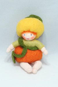 Pumpkin Baby - Eco Flower Fairies, handmade wool felt Waldorf dolls